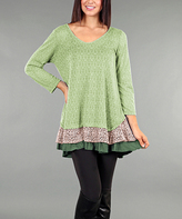 Aster Green Arabesque Tiered Tunic - Plus Too