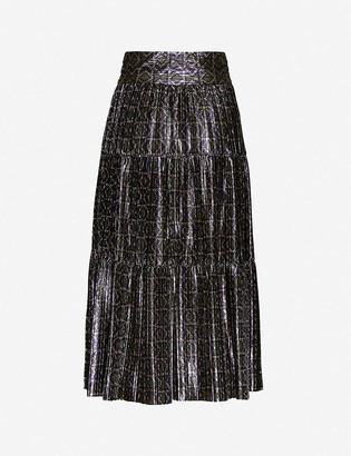 BA&SH Prisca metallic woven midi skirt