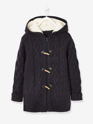 Vertbaudet Long Cardigan with Hood & Sherpa Lining for Girls