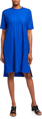 Eileen Fisher Wide-Rib Mock-Neck Elbow-Sleeve Dress