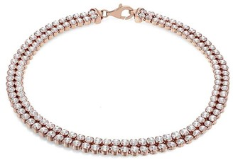 The Love Silver Collection Sterling Silver Rose Gold Plated Double Row Cubic Zirconia Tennis Bracelet