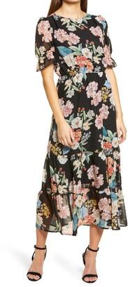 Fraiche by J Shasha Floral Tiered Ruffle Short Sleeve Dress