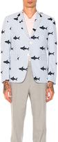 Thom Browne Seersucker Shark Embroidery Blazer