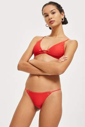 Topshop Womens Rib Eyelet Bikini Bottoms - Red