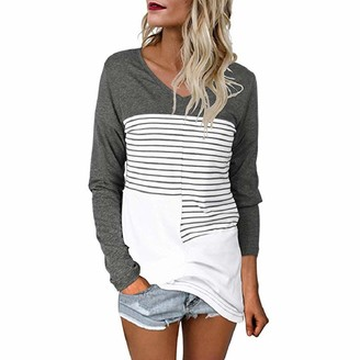 YEBIRAL Tops for Women Pullover Sweatshirt Ladies Tops Plus Size V Neck Stripe Patchwork Long Sleeve Shirts Blouse Gray