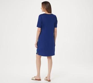 Factory Quacker Sequin Motif Elbow-Sleeve Knit Dress