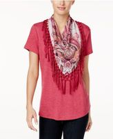 Style&Co. Style & Co T-Shirt with Detachable Scarf, Only at Macy's