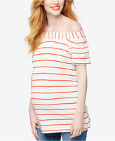 A Pea in the Pod Maternity Off-The-Shoulder Striped Top