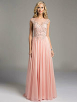 Lara Dresses - Intricately Embellished Illusion A-Line Evening Gown with Cap Sleeves and Pearl Buttons 33219
