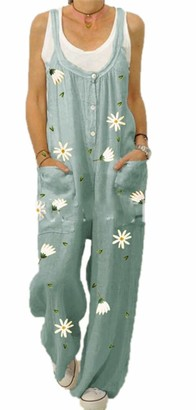 Babao Women's Casual Jumpsuit Pants Women's Strappy Dungarees Baggy Overalls Printed Cotton Retro Trousers
