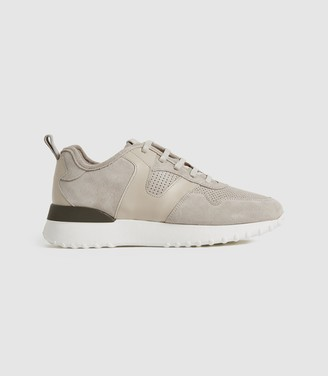Reiss ZENNA SUEDE TRAINERS Taupe