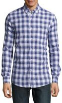 Report Collection Cotton & Linen Plaid Shirt