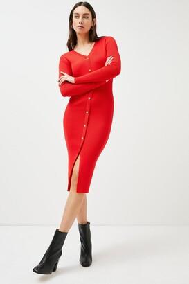 Karen Millen Button Detail Knitted Rib Dress