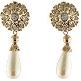 Christian Dior Crystal & Faux Pearl Drop Earrings