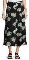 Lafayette 148 New York Carissa Pressed Peonies Maxi Skirt, Multi Pattern