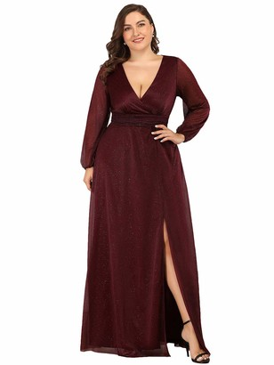 Ever Pretty Ever-Pretty Women's V Neck Empire Floor Length with Thigh High Slit A Line Plus Size Formal Evening Dresses Burgundy 20UK
