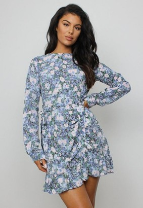 Missguided Blue Floral Print Ruched Side Button Tea Dress