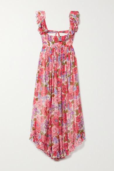 Zimmermann Poppy Open-back Ruffled Floral-print Silk-crepon Midi Dress - Pink