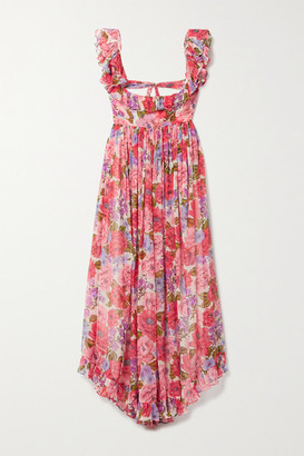 Zimmermann Poppy Open-back Ruffled Floral-print Silk-crepon Midi Dress - Pink