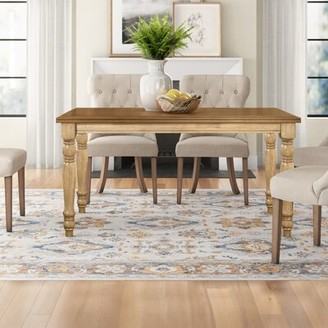 Three Posts Courtdale Solid Rubberwood Dining Table Color: Almond/Wheat