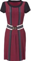 Fendi Burgundy Silk Short Sleeve Dress