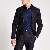Mens River Island Navy check skinny fit suit jacket