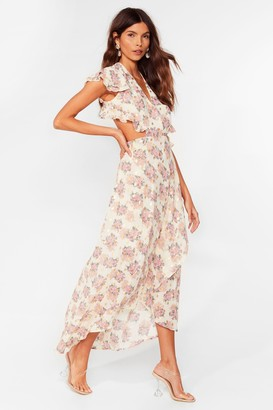 Nasty Gal Womens Stay Awhile Floral Maxi Dress - White - 6