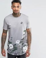 Criminal Damage T-shirt With Floral Print Curved Hem