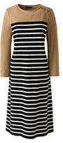 Classic Women's 3/4 Sleeve Ponté Shift Dress-Vicuna Heather Stripe