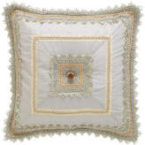 "Sweet Dreams Crystal Palace Mitered Blue Silk Pillow, 18""Sq."
