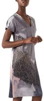 Jigsaw Silk Golden Storm Constance Shift Dress, Shadow Grey