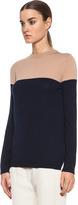 Jenni Kayne Side Slit Crew Neck Merino Wool Sweater in Navy & Khaki