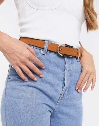 Pieces suede jeans belt in cognac