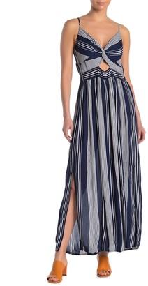 Angie Stripe Keyhole Cutout Maxi Dress