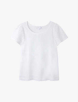 The White Company Broderie-sleeve cotton T-shirt