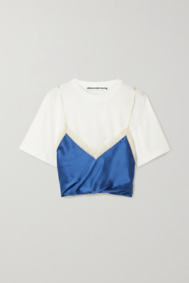 Alexander Wang Layered Lace-trimmed Silk-satin And Cotton-jersey Top - White