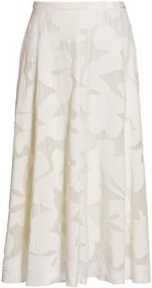 Akris Punto Velvet Magnolia Midi Skirt