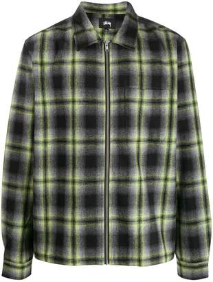 Stussy checked zip-up shirt