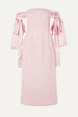 Mother of Pearl Net Sustain Matilda Off-the-shoulder Silk Satin-trimmed Organic Cotton And Wool-blend Dress - Blush