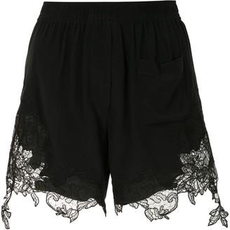 Vera Wang Scalloped Lace Silk Boxer Shorts