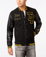 True Religion Men's Collegiate Leather-Sleeve Jacket