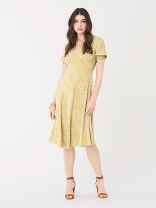Diane von Furstenberg Idris Cinch-Sleeve Crepe Dress