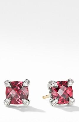 David Yurman Chatelaine(R) Stud Earrings with Rhodolite Garnet & Diamonds
