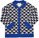 Barneys New York TRIANGLE-INTARSIA CASHMERE ZIP-FRONT CARDIGAN