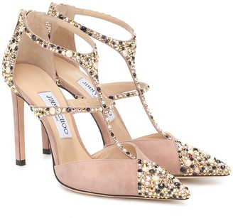 Jimmy Choo Saoni 100 embellished suede pumps