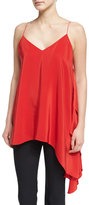 Cinq à Sept Romeo Sleeveless V-Neck Draped Top, Venetian Red