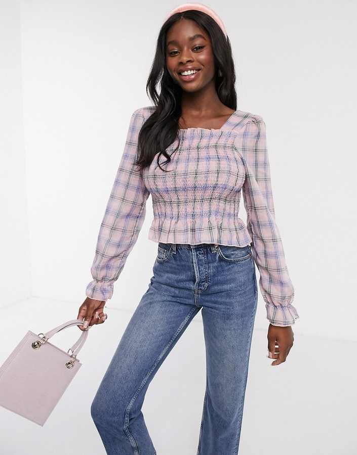 Thumbnail for your product : Qed London square neck shirred top in pink check