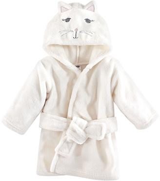 Hudson Baby Girls' Bath Robes Kitty - White Kitty Hooded Bathrobe - Newborn