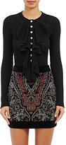 Balmain Women's Cascading Ruffle Top-BLACK