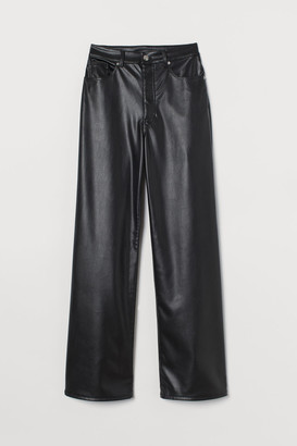 H&M Wide-cut Faux Leather Pants - Black